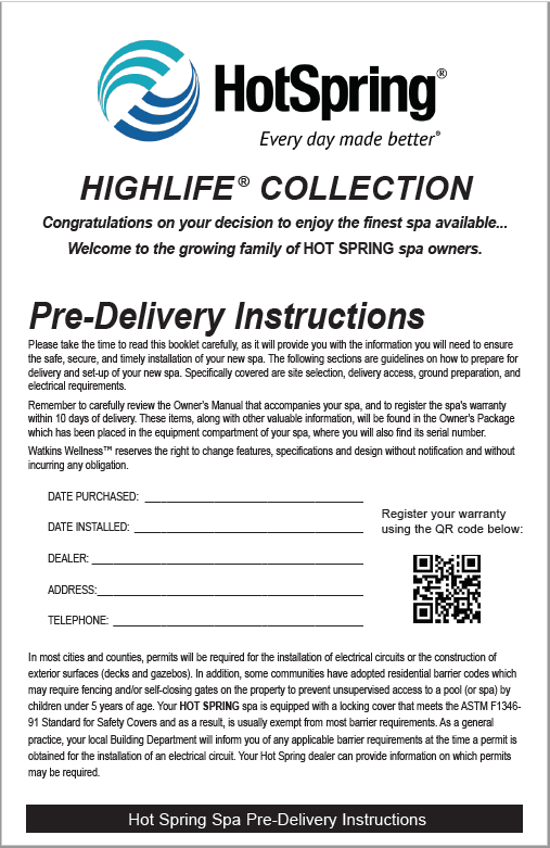 Highlife Pre-Delivery Instruction Picture